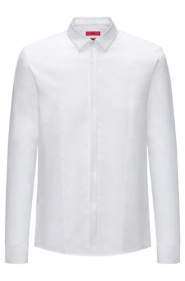 Camicia da smoking extra slim fit in popeline di cotone, Bianco