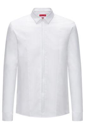 Chemise de soirée Extra Slim Fit en popeline de coton, Blanc