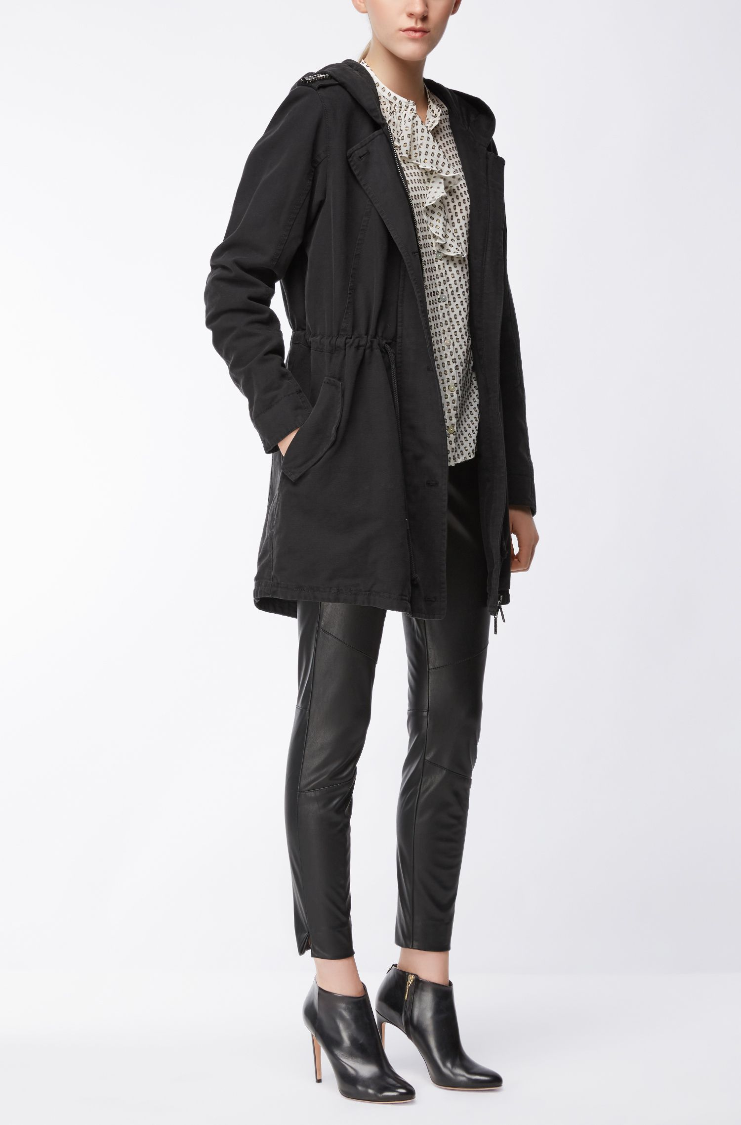Regular-fit parka jacket in washed structured cotton