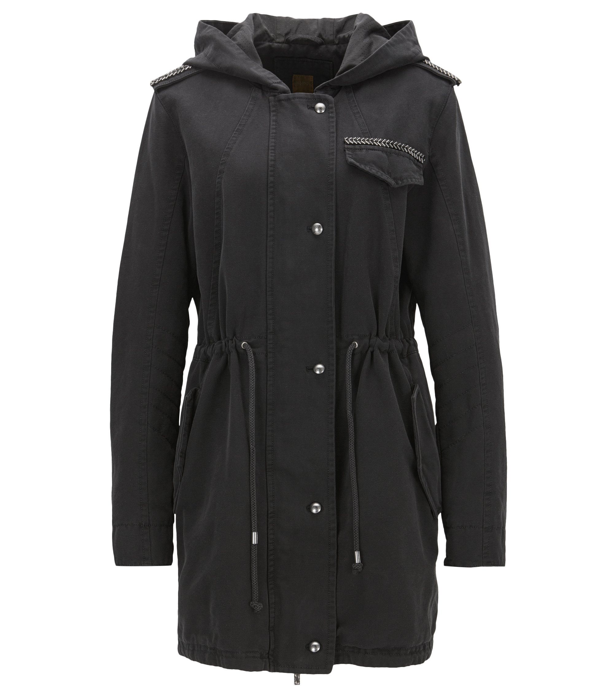 Regular-fit parka jacket in washed structured cotton, Black