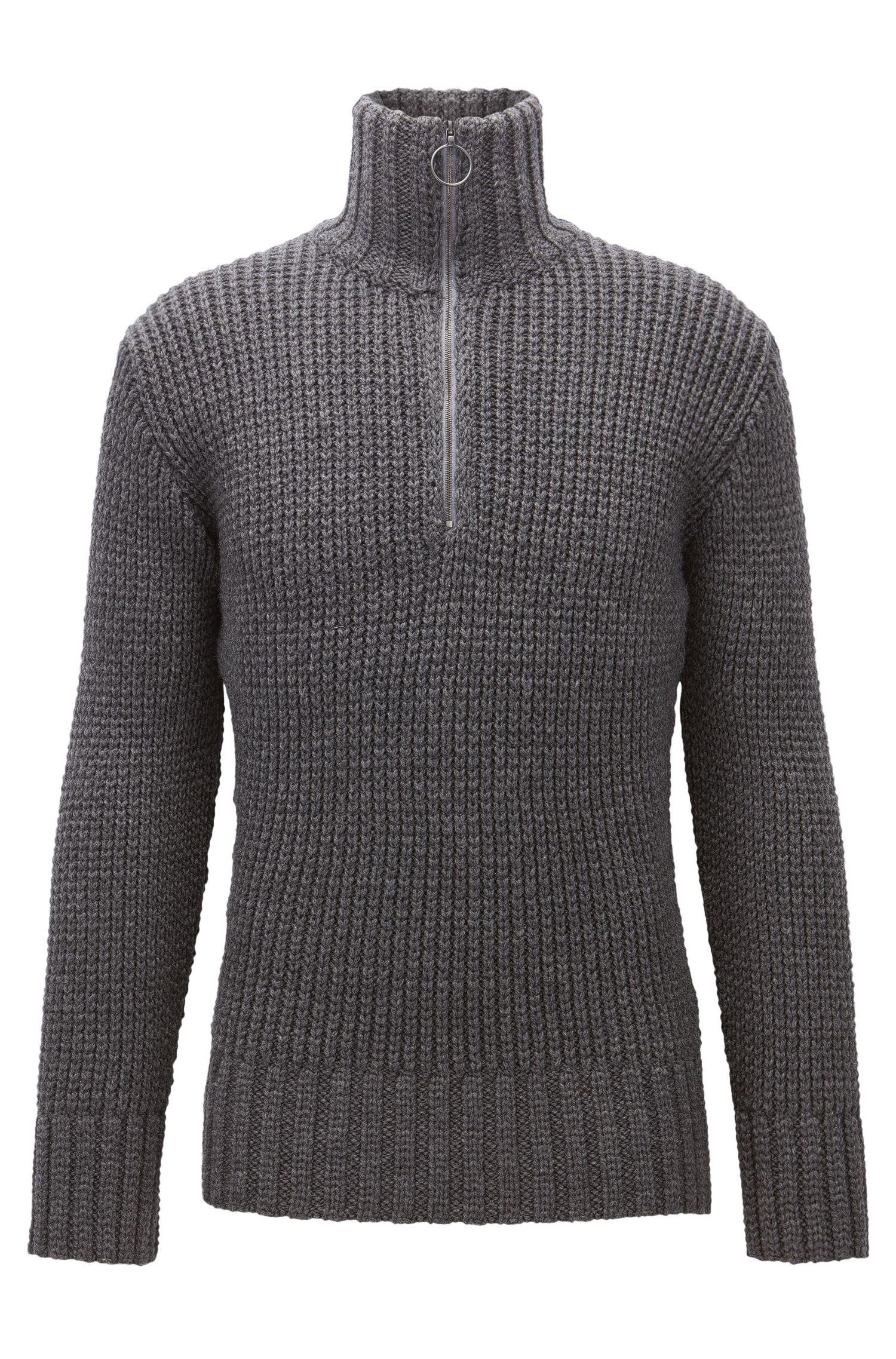 Maglione a coste in lana vergine con zip sul colletto