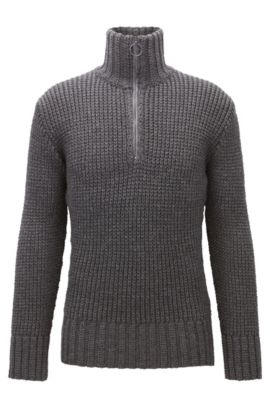 Zip-neck ribbed-knit sweater in virgin wool, Grey