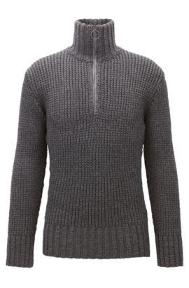 Maglione a coste in lana vergine con zip sul colletto, Grigio