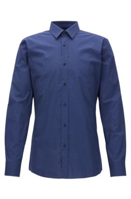 Cotton micro-pattern shirt in a slim fit, Dark Blue