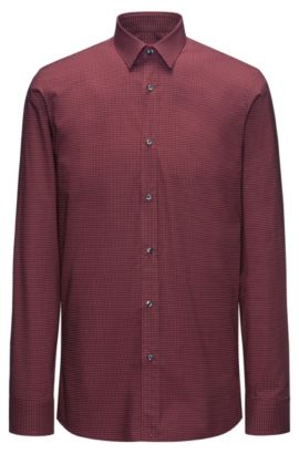Cotton micro-pattern shirt in a slim fit, Dark Red