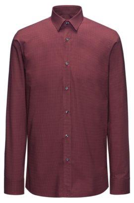Chemise Slim Fit en coton à micro-motif, Rouge sombre