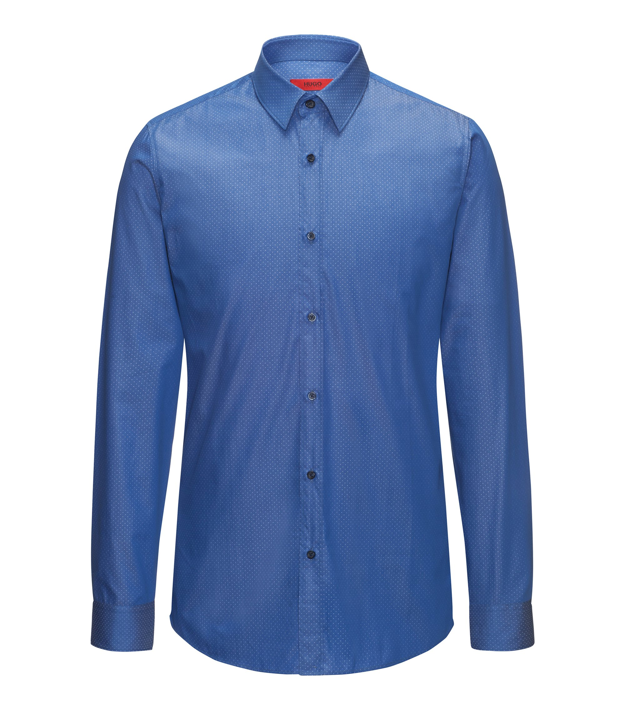 Slim-fit shirt in yarn-dyed cotton twill, Blue