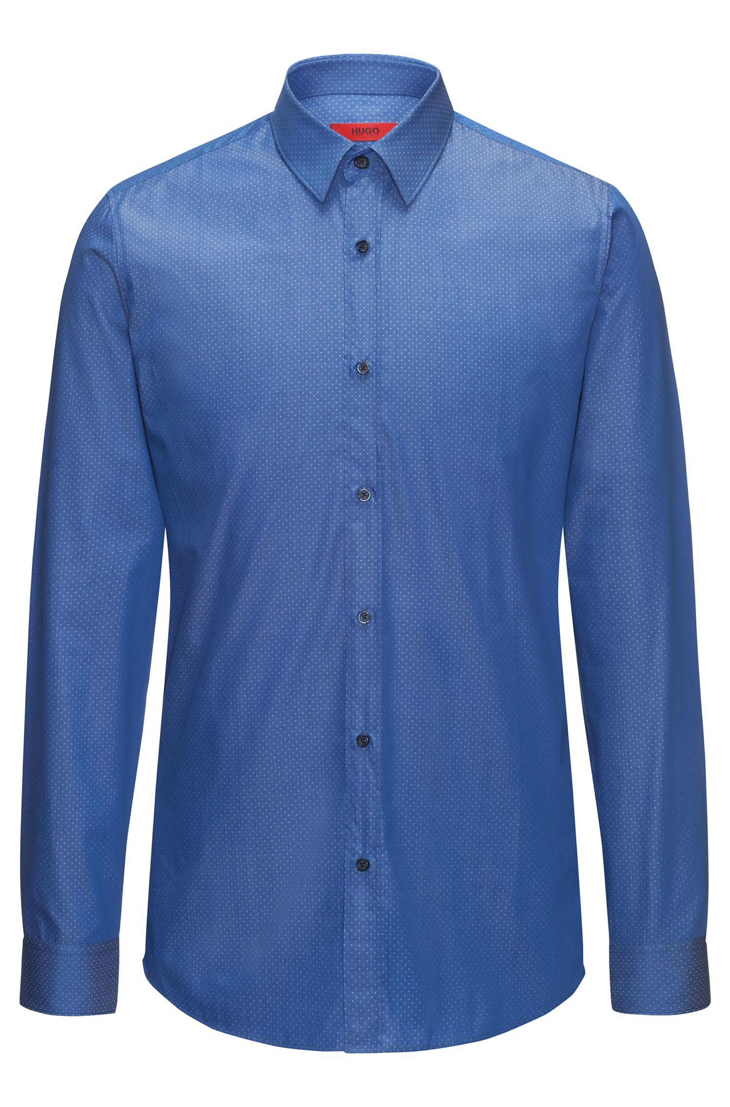 Slim-fit shirt in yarn-dyed cotton twill
