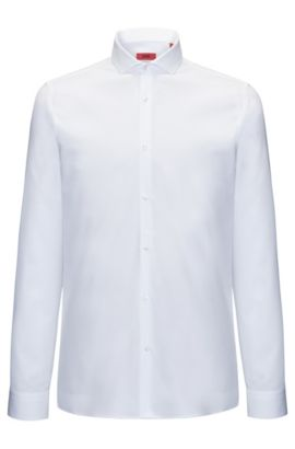 Extra-slim-fit shirt in soft cotton, White