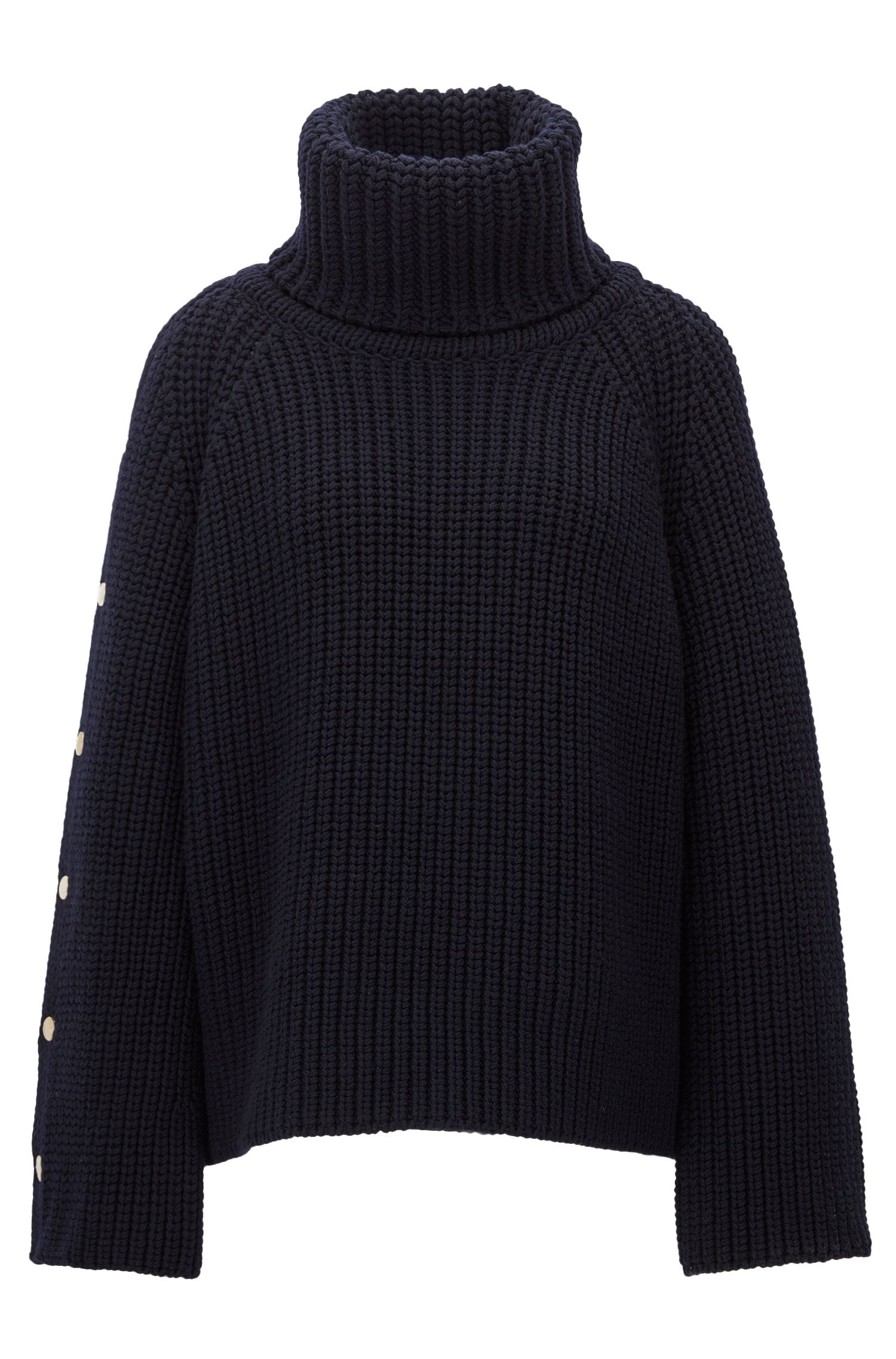 Knitted roll-neck sweater in virgin wool