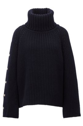Knitted roll-neck sweater in virgin wool, Dark Blue