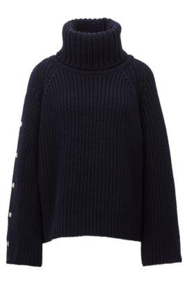 Pull en maille à col roulé en laine vierge, Bleu foncé
