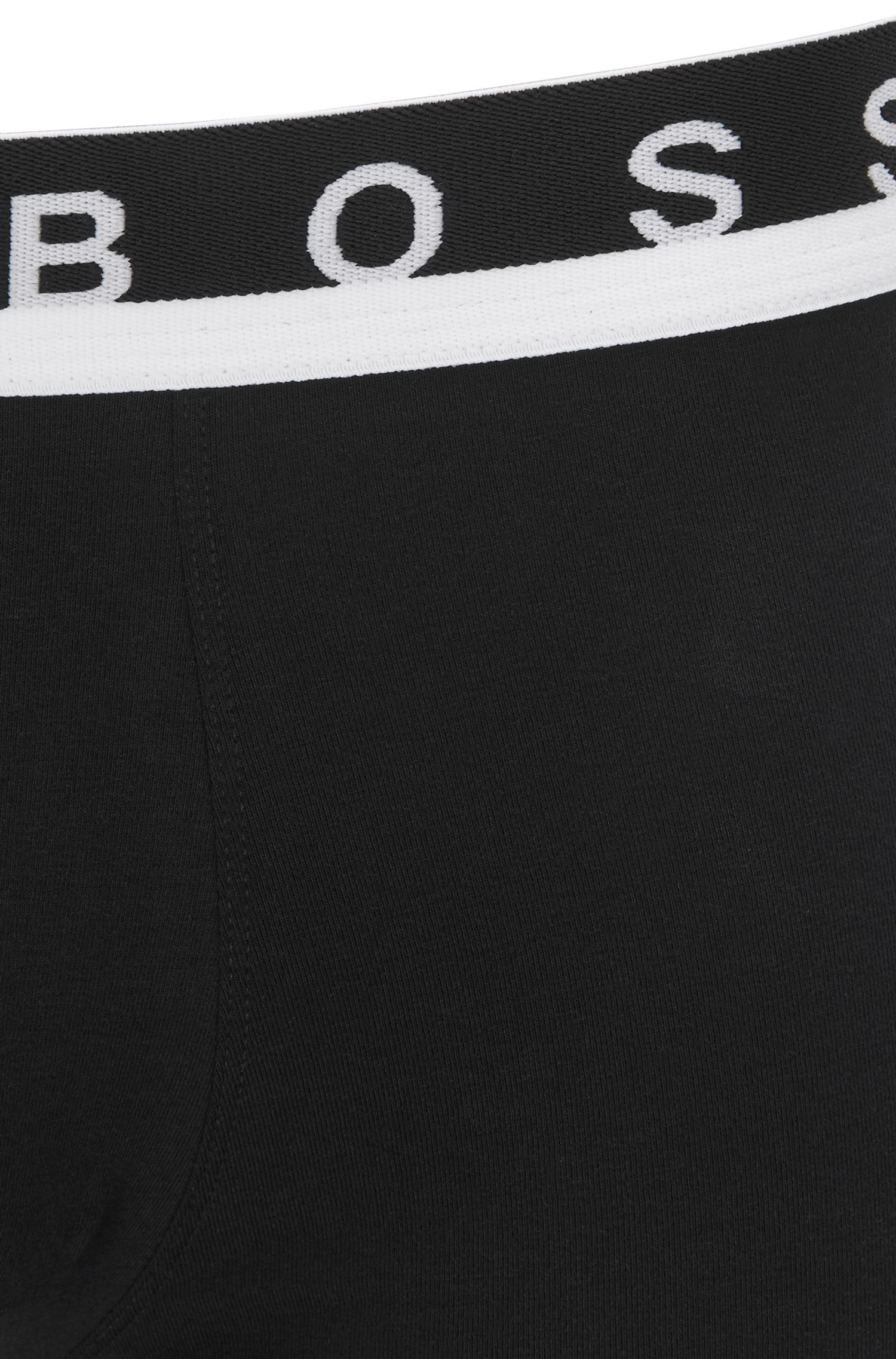 Boxershort van stretchkatoen met tailleband met logo, Zwart