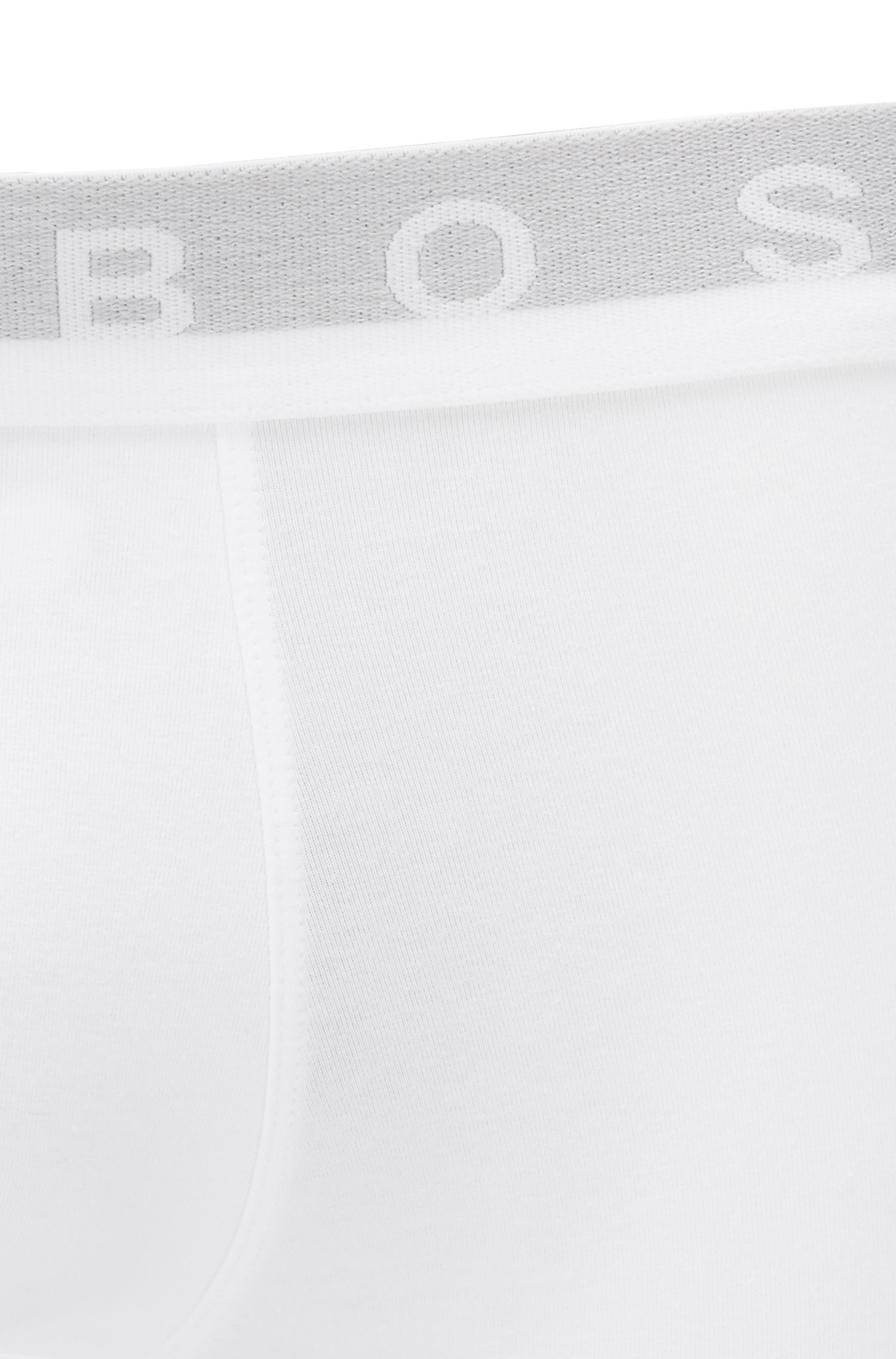 Boxershort van stretchkatoen met tailleband met logo, Wit