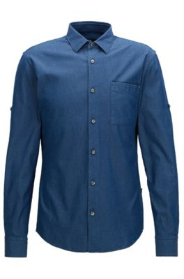 Slim-fit shirt in Italian indigo denim, Dark Blue