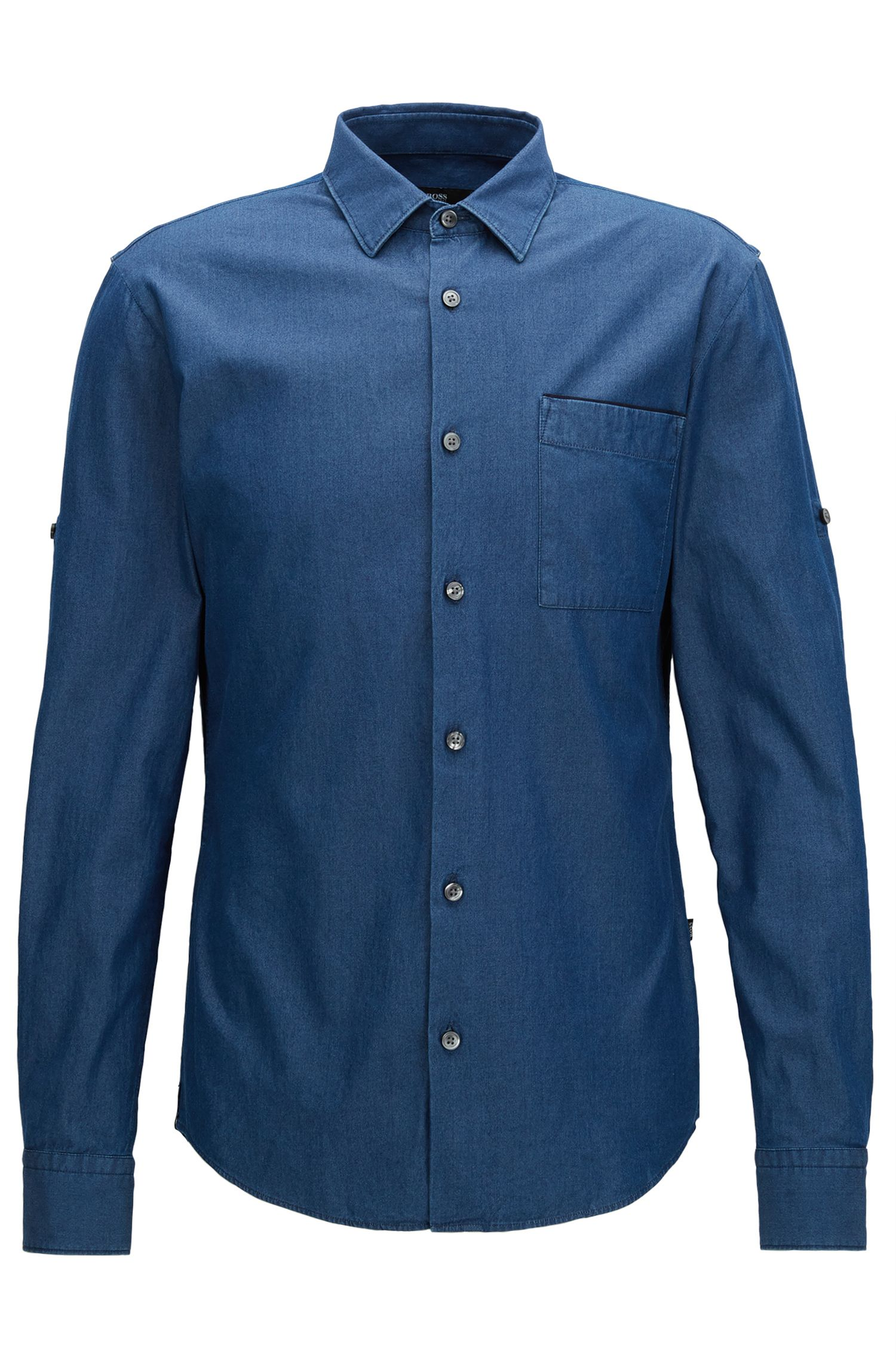 Camisa slim fit en denim italiano añil