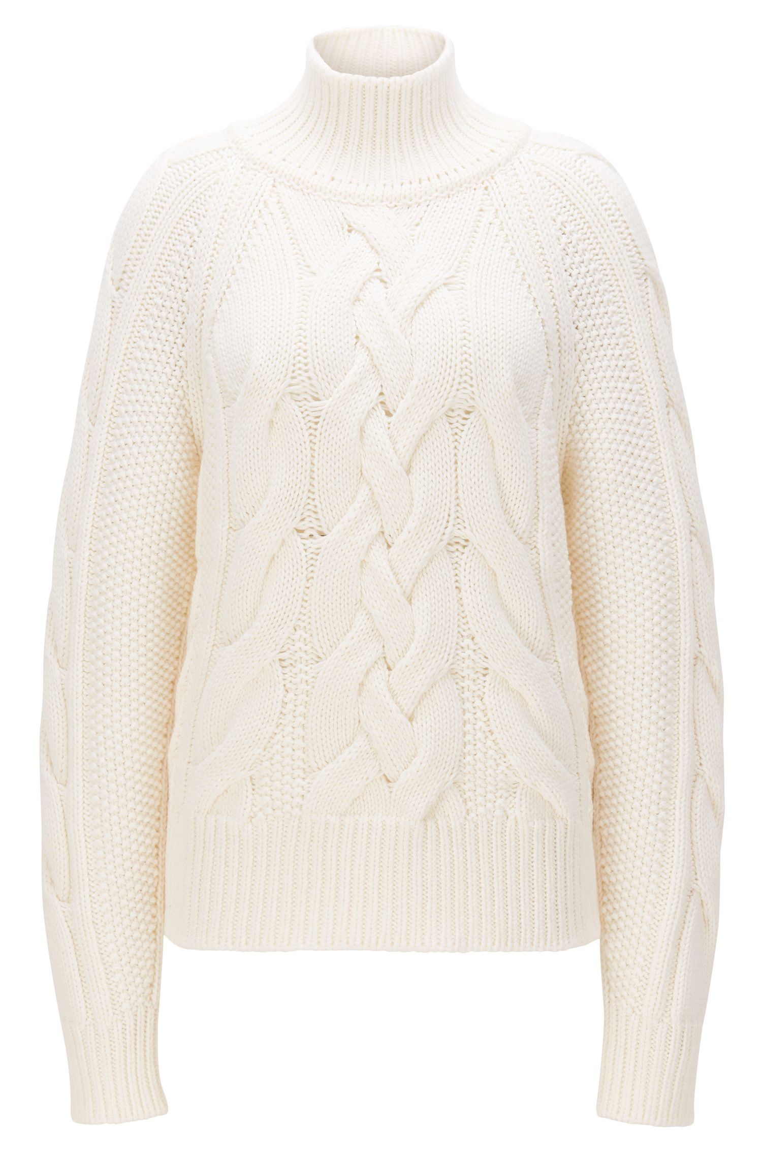 Cable-knit sweater in virgin wool