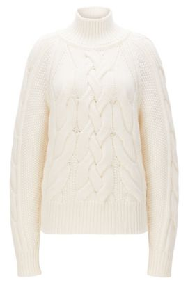 Cable-knit sweater in virgin wool, Natural