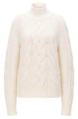 Maglione a trecce in misto lana vergine, Naturale