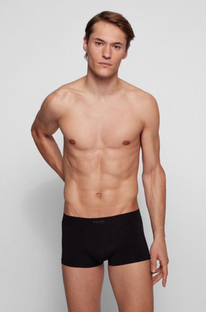 Stretch-microfibre quick-dry trunks with logo waistband