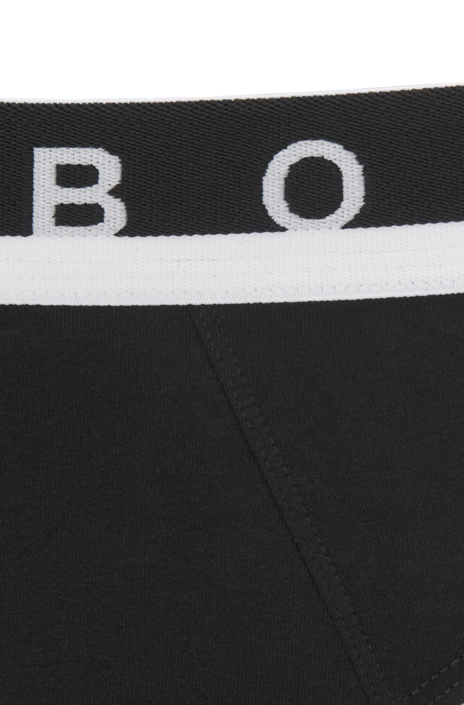 Logo-waistband briefs in stretch cotton, Black