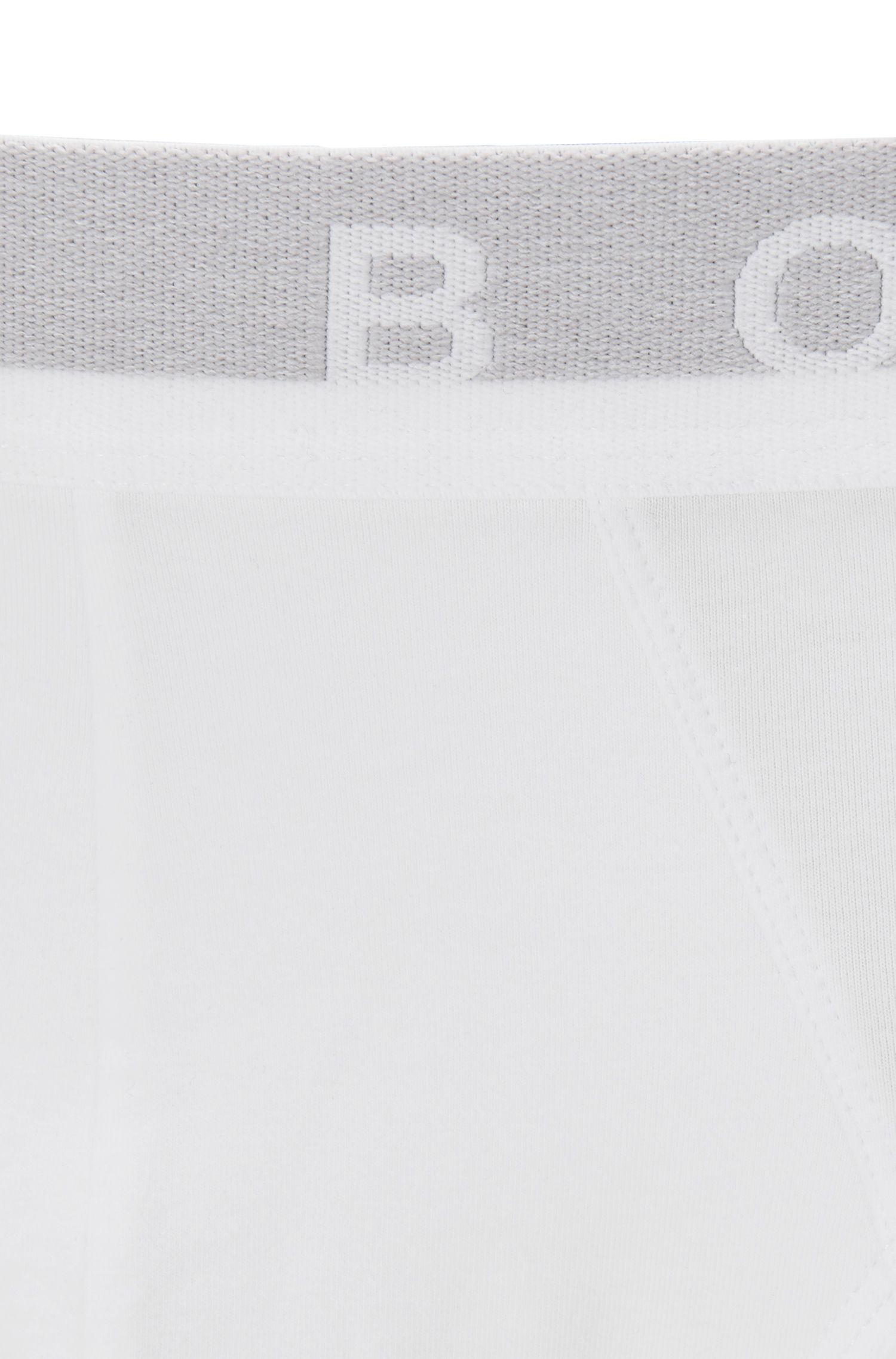 Slip aus Stretch-Baumwolle mit Logo am Bund, Weiß