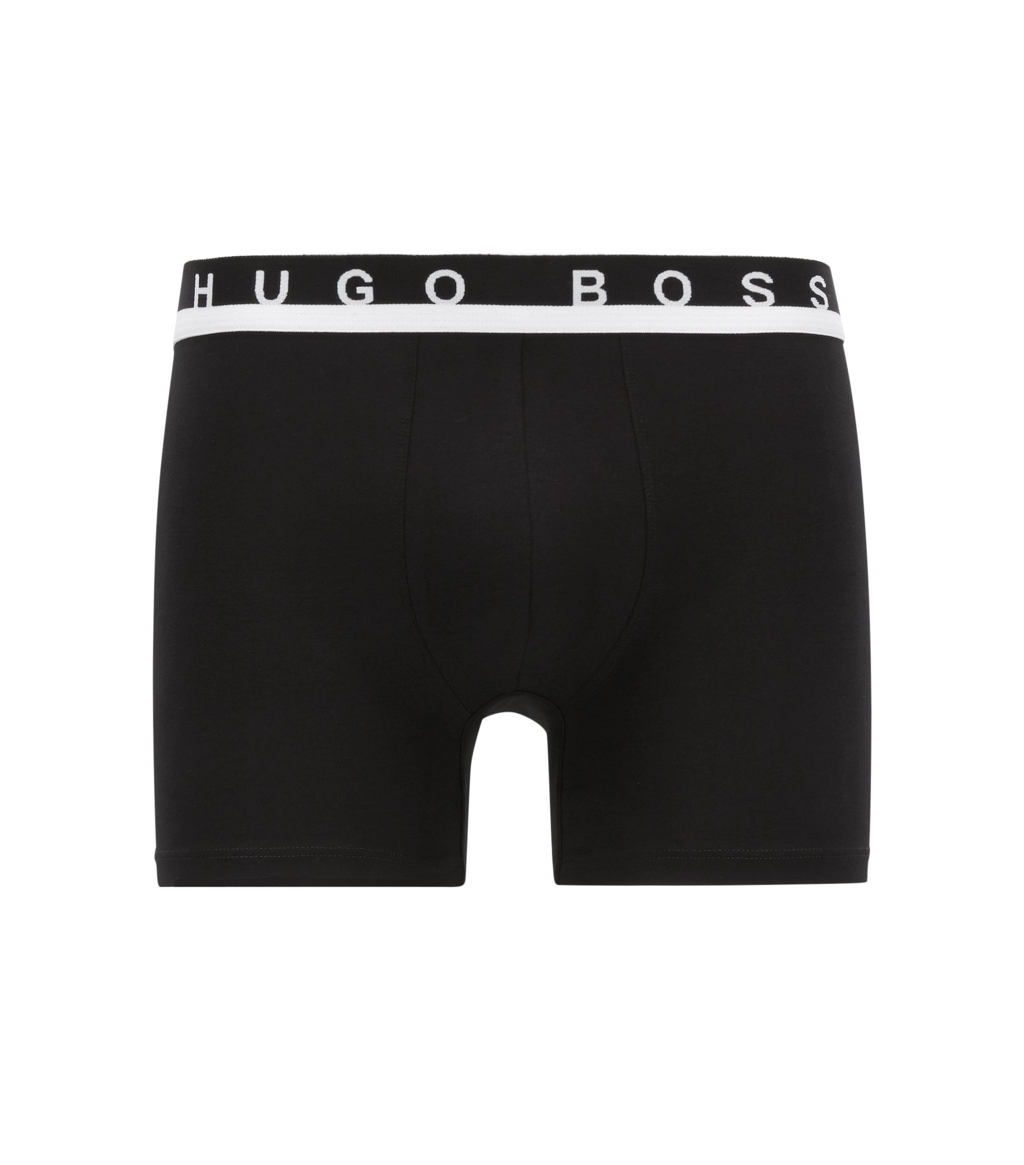 Boxer briefs in stretch cotton, Black