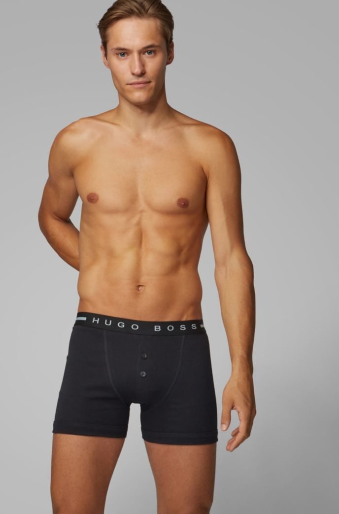 Ribbed trunks in cotton with logo waistband