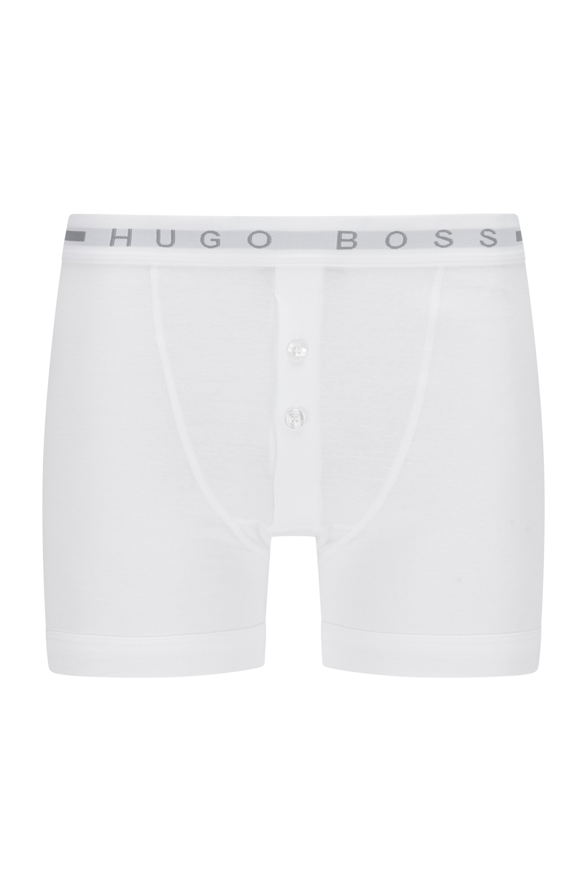 Gerippte Baumwoll-Boxershorts mit Logo am Bund, Weiß