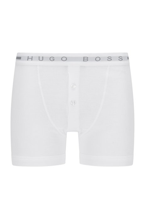 Regular-rise trunks in ribbed cotton with logo waistband, White
