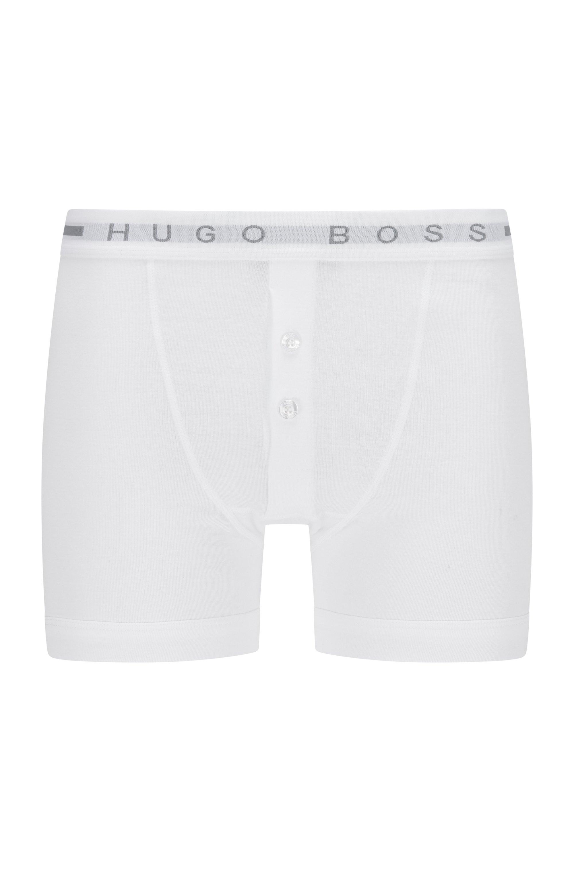 Boxer a coste in cotone con elastico in vita con logo, Bianco