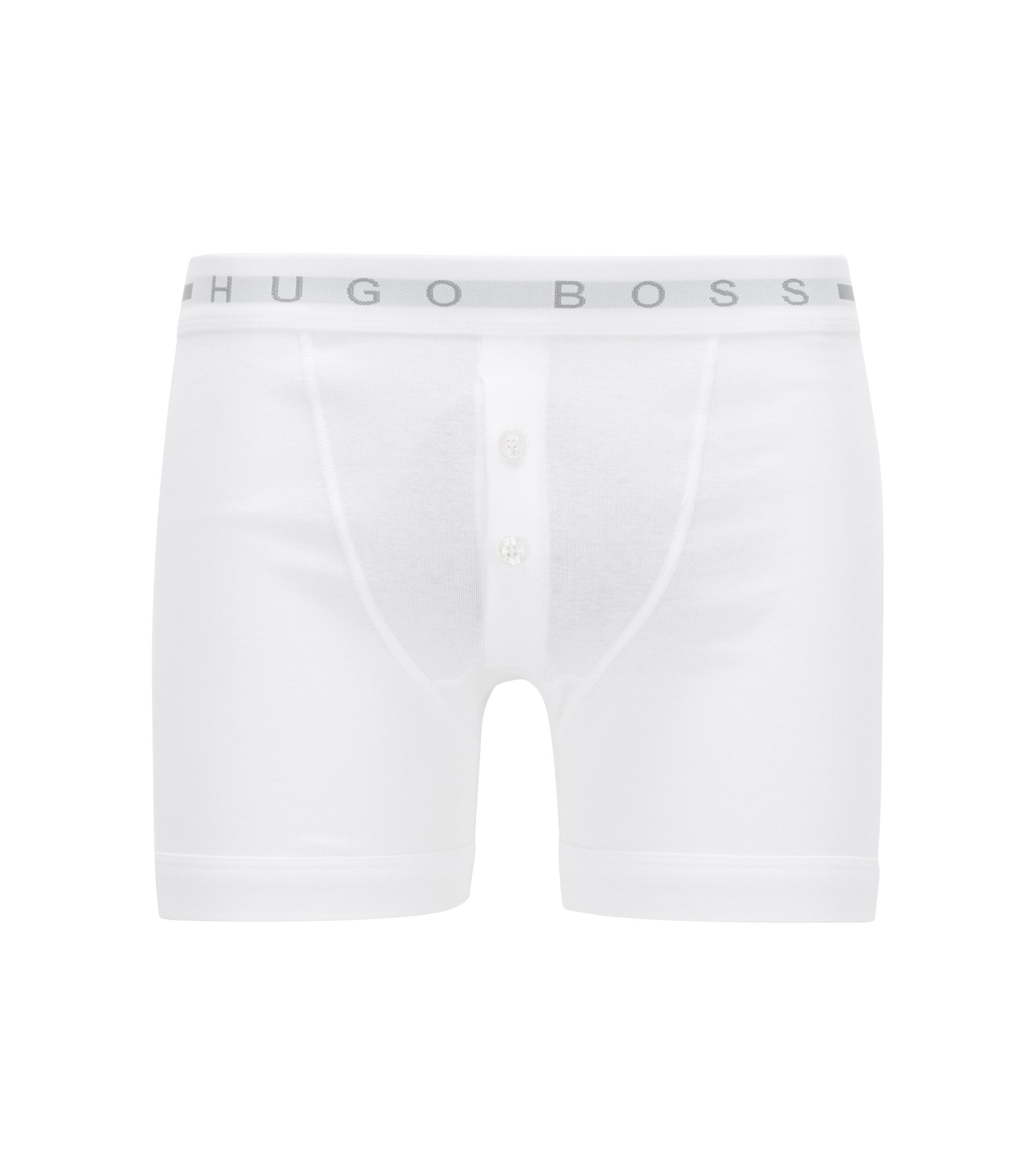 Button-fly trunks in ribbed cotton, White