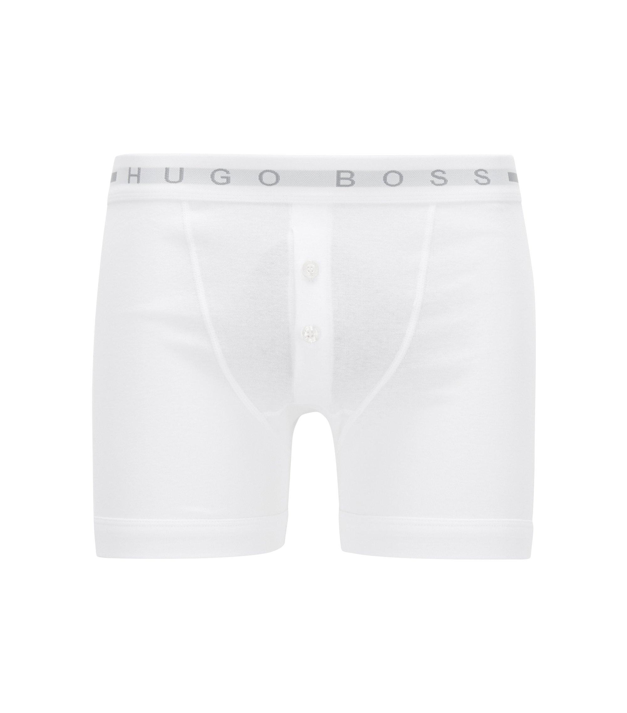 Boxer à braguette boutonnée en coton côtelé, Blanc