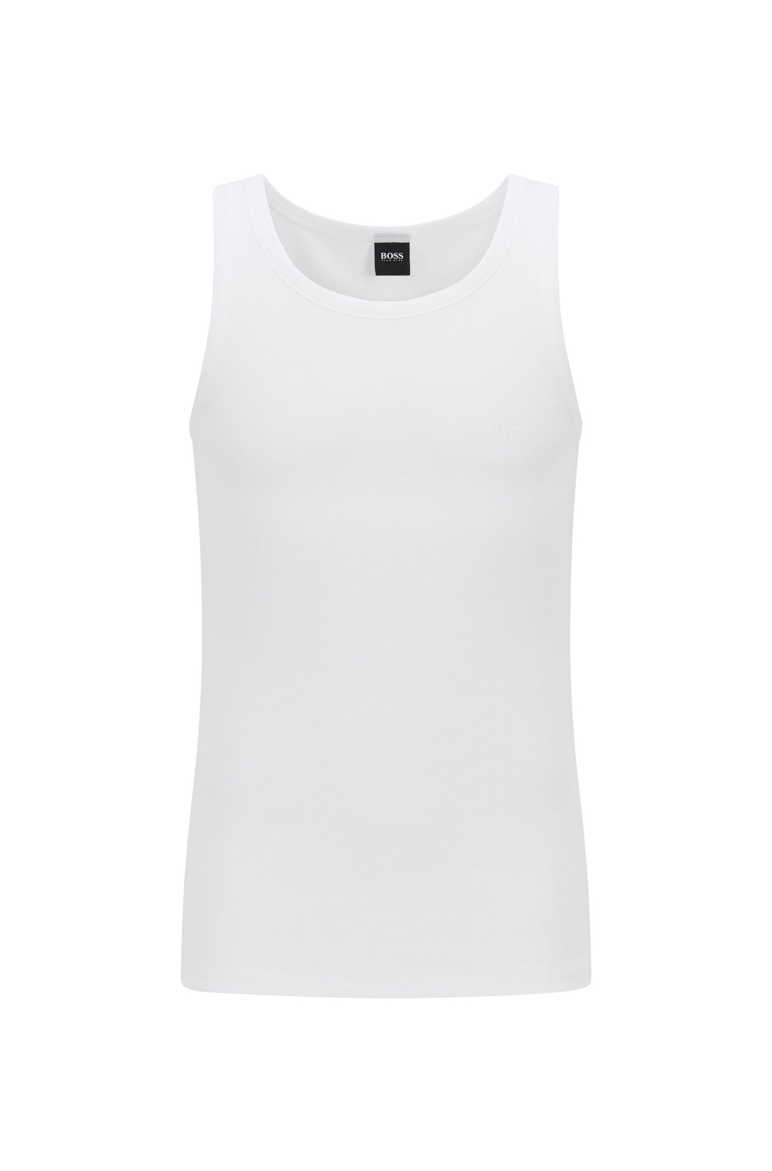 Regular-fit underwear vest in ribbed cotton, White