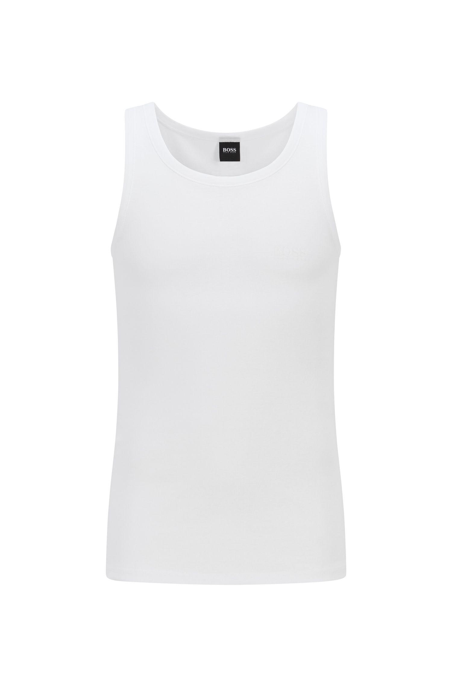 Regular-Fit Unterhemd aus gerippter Baumwolle, Weiß