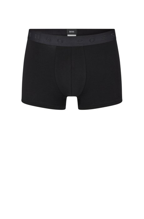Regular-rise trunks in Egyptian stretch cotton, Black