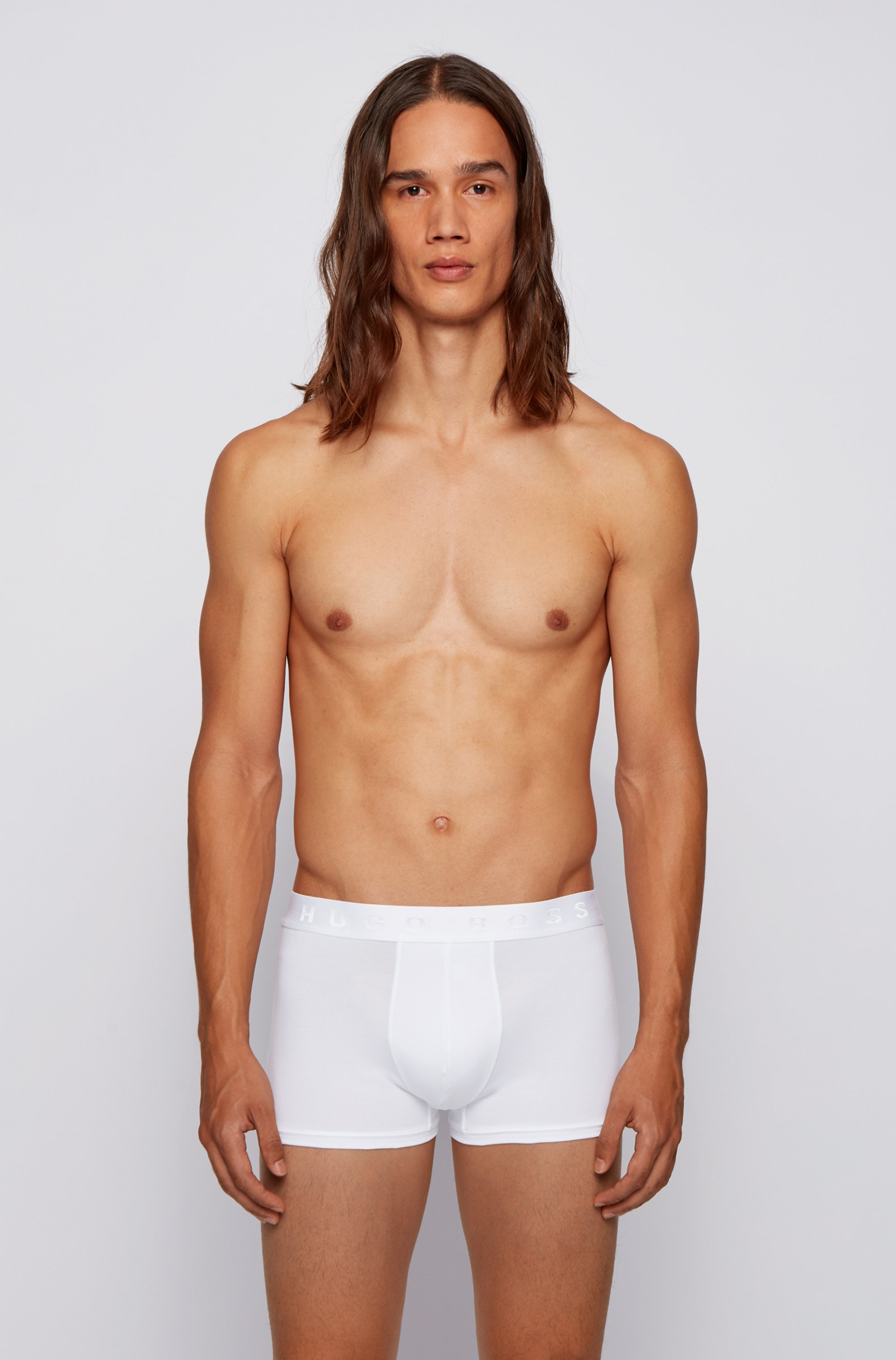 Logo-waistband trunks in organic cotton with stretch