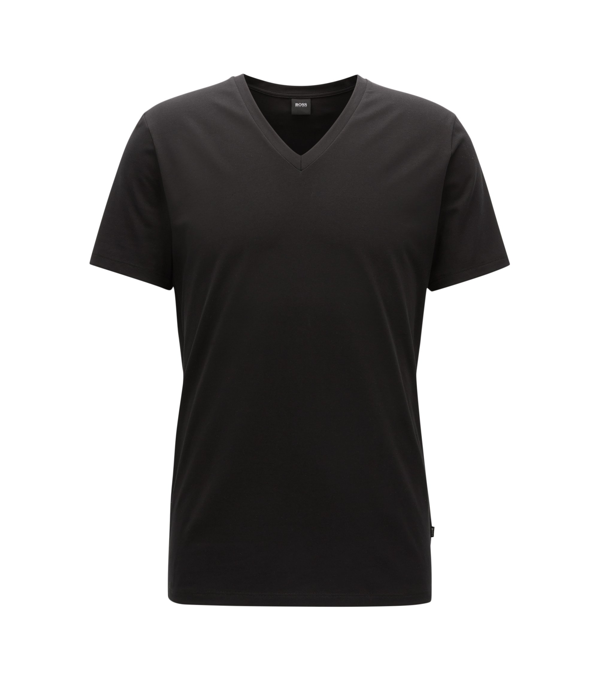 V-neck underwear T-shirt in Egyptian stretch cotton, Black
