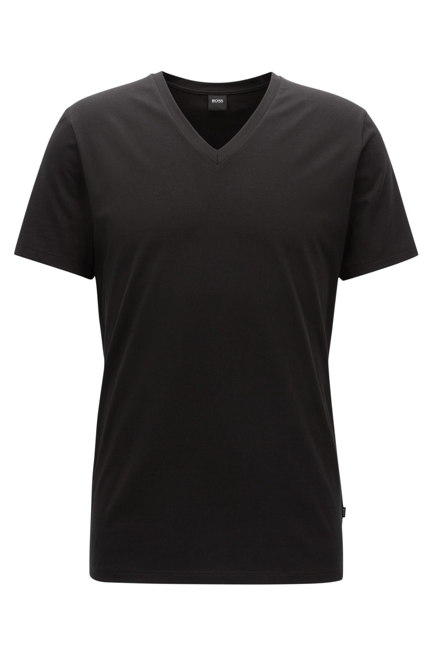 Regular-Fit T-Shirt aus ägyptischer Stretch-Baumwolle mit V-Ausschnitt