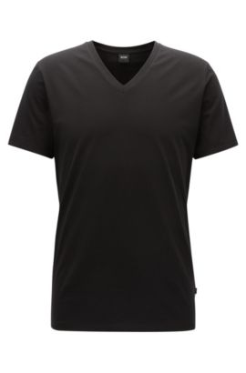 V-neck underwear T-shirt in Egyptian stretch cotton, Black