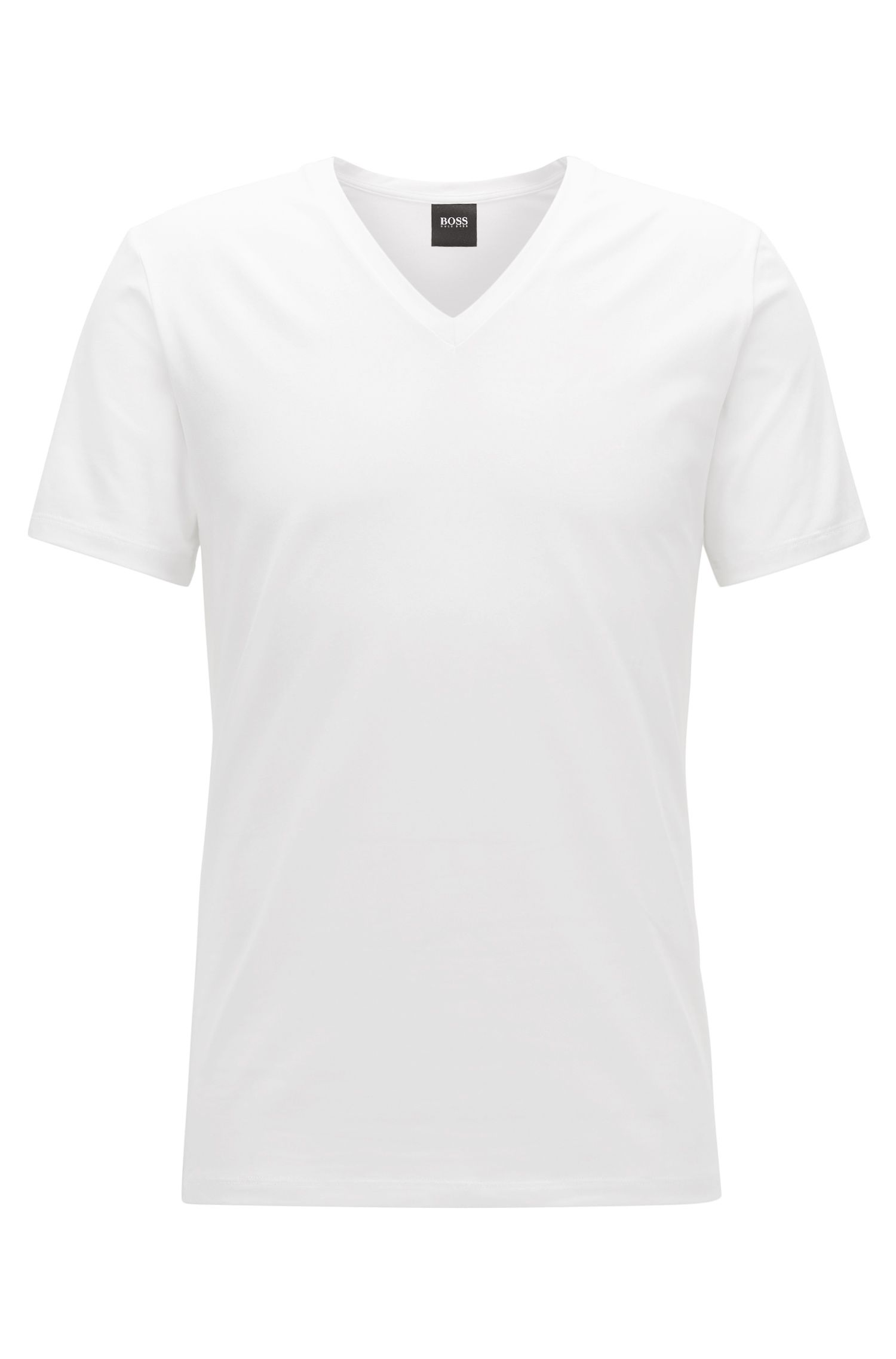 V-neck underwear T-shirt in Egyptian stretch cotton, White