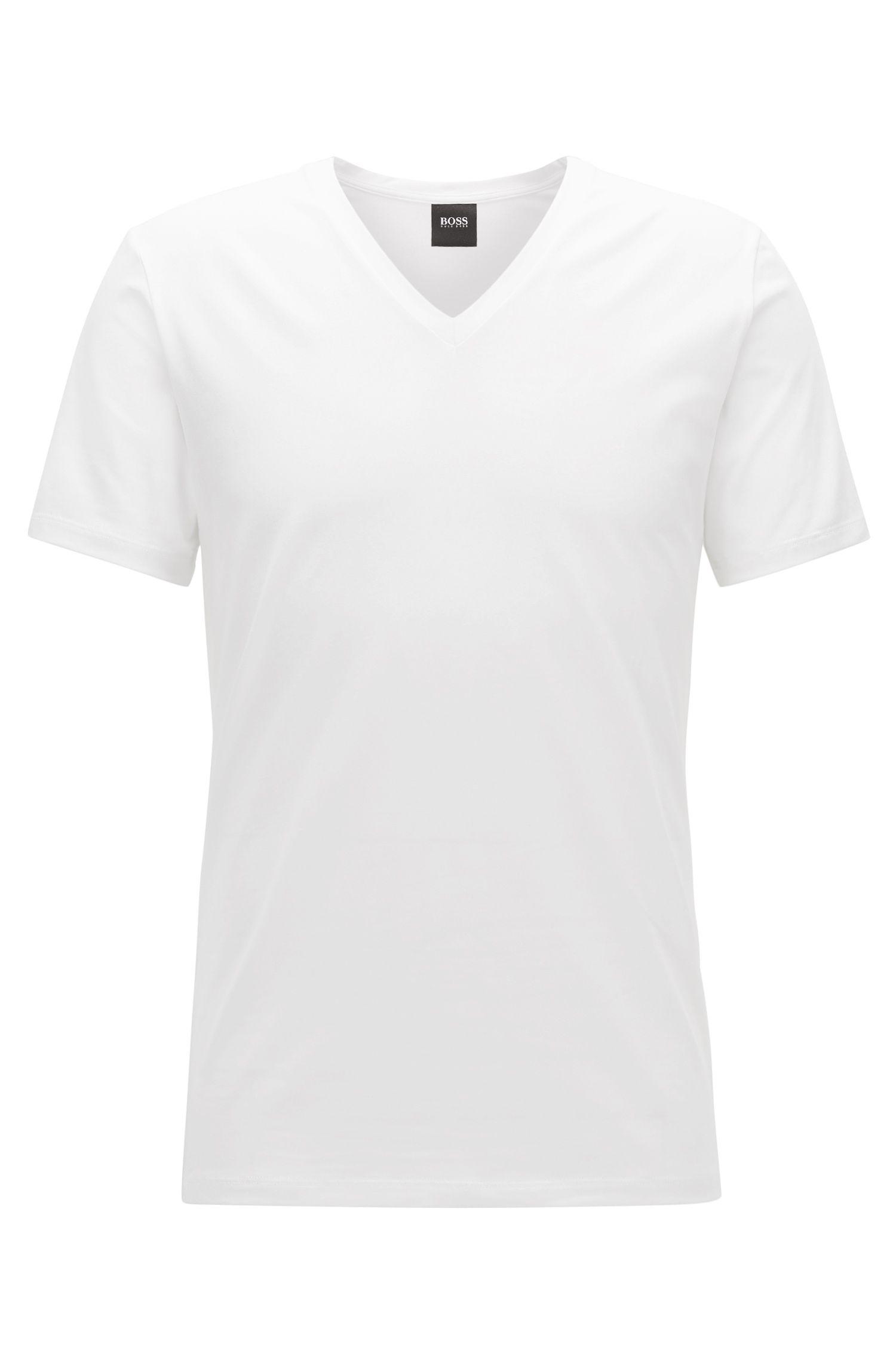 T-shirt sous-vêtement à col V en coton égyptien stretch
