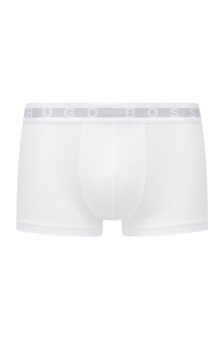 Boxer court en coton mélangé Coolmax®, à ceinture logo, Blanc