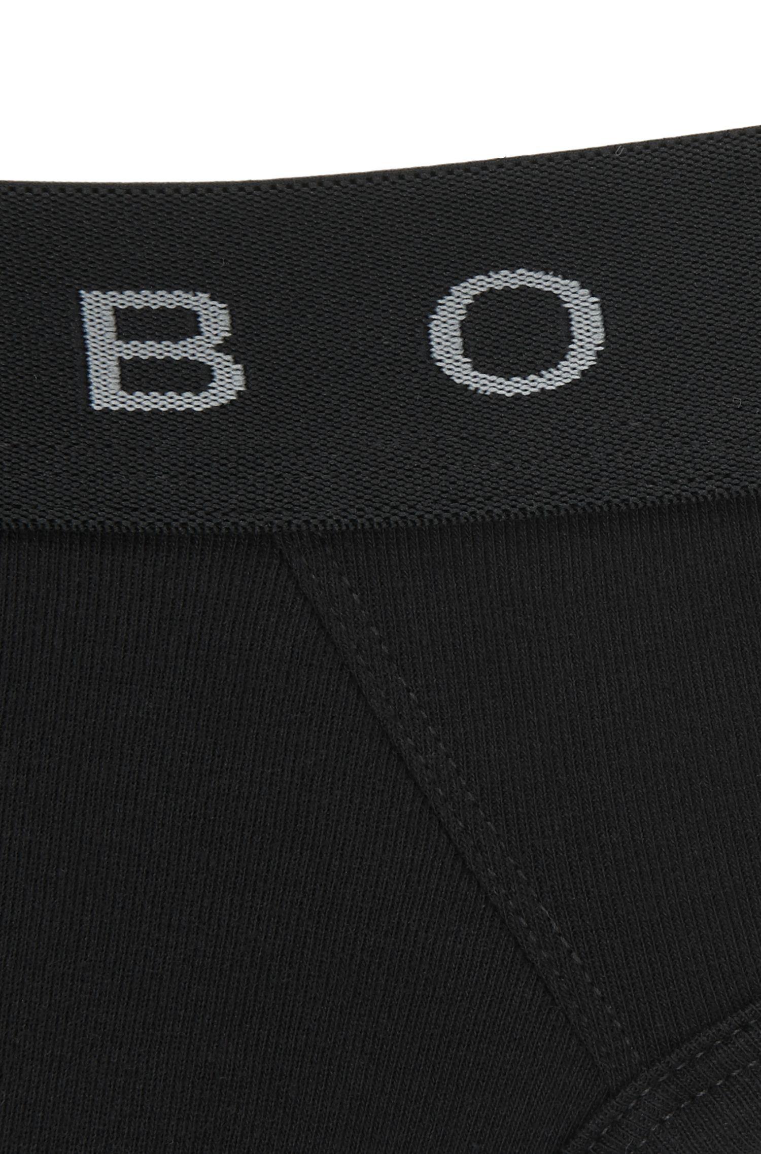 Slip aus gerippter Stretch-Baumwolle mit Logo am Bund, Schwarz
