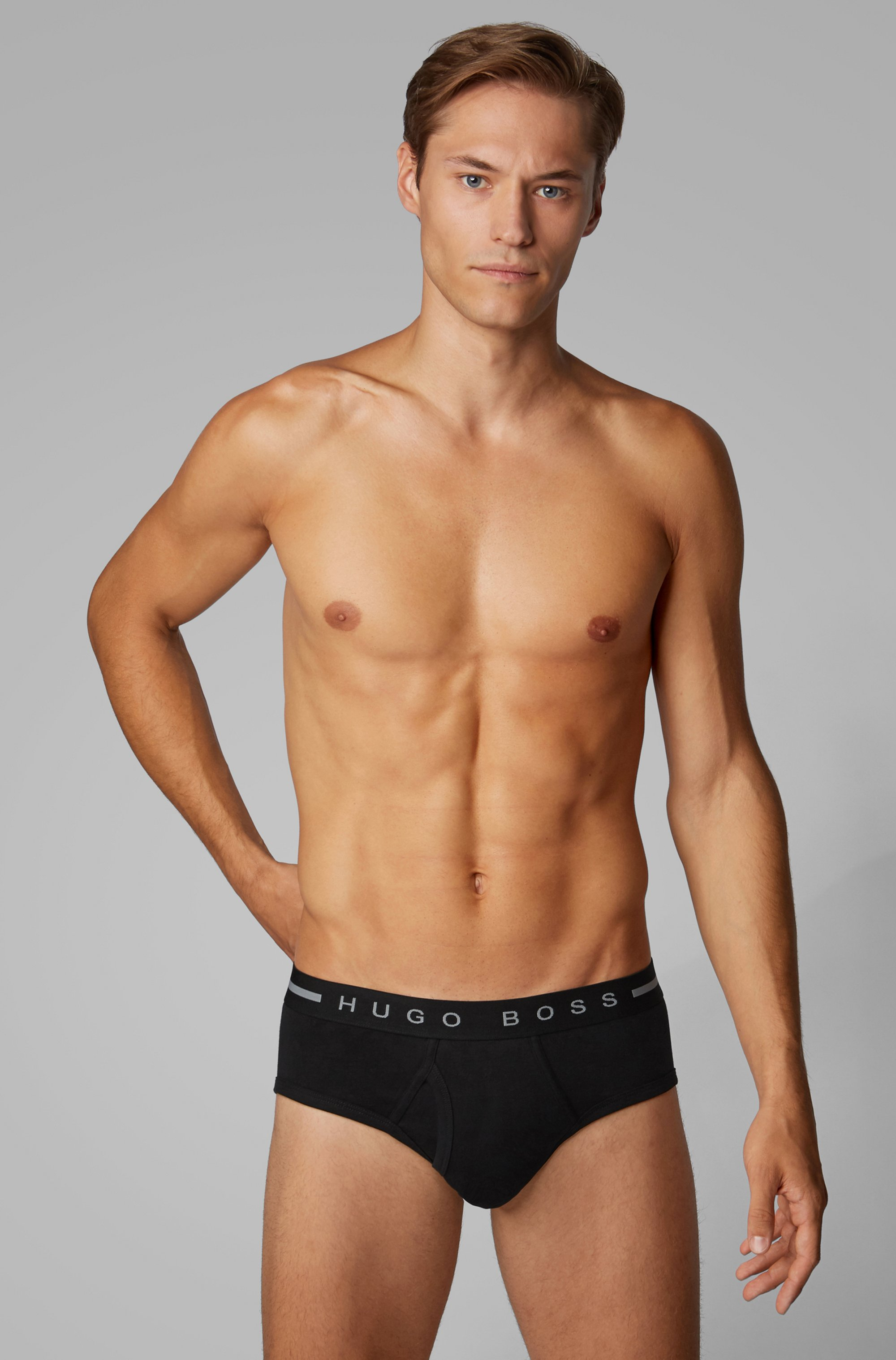 Ribbed-cotton briefs with logo waistband