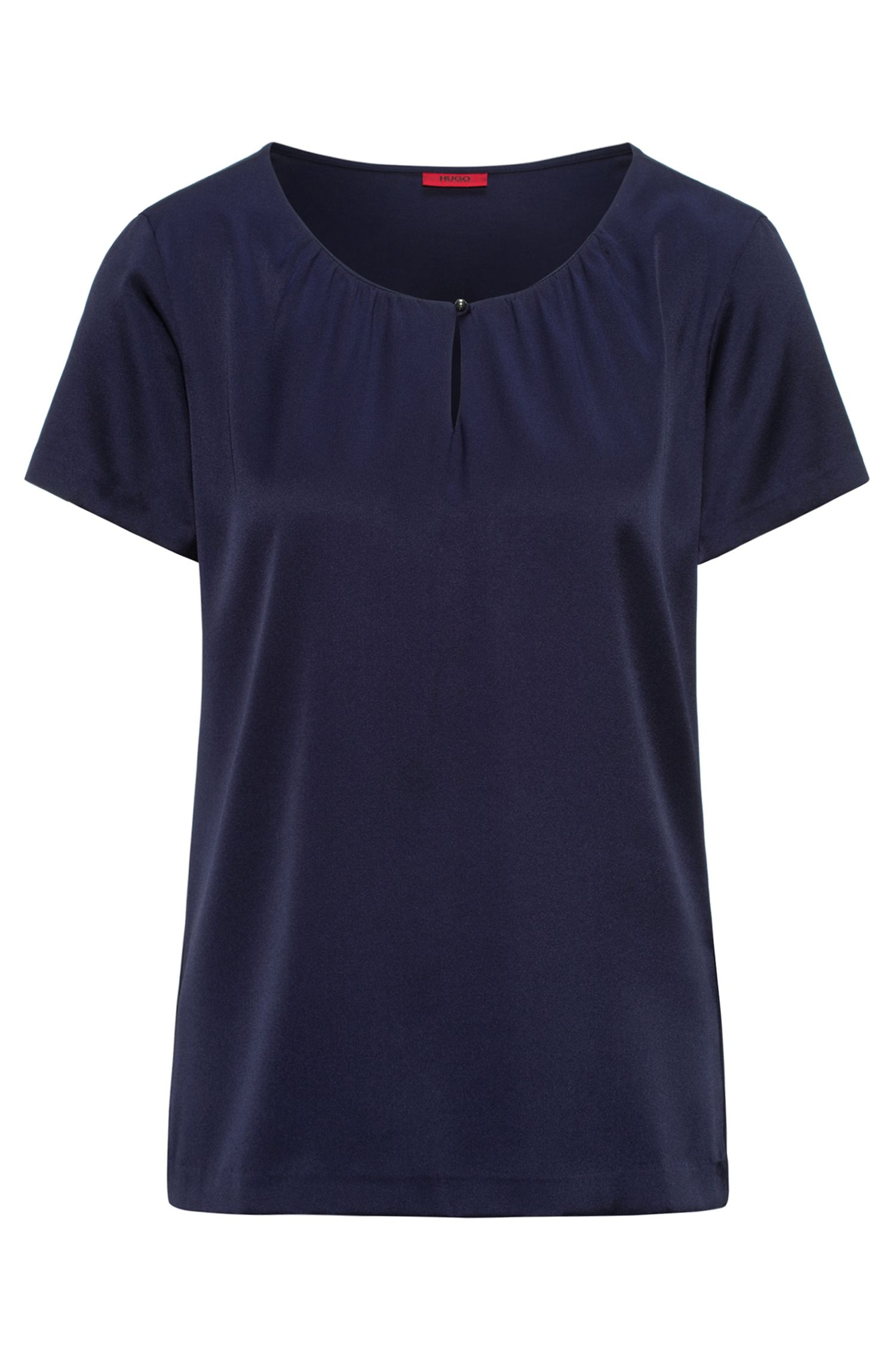 Gathered-neck top in silk and jersey with stretch