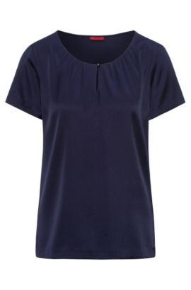Gathered-neck top in silk and jersey with stretch, Dark Blue