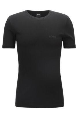 Regular-fit underwear T-shirt van geribbelde katoen, Zwart