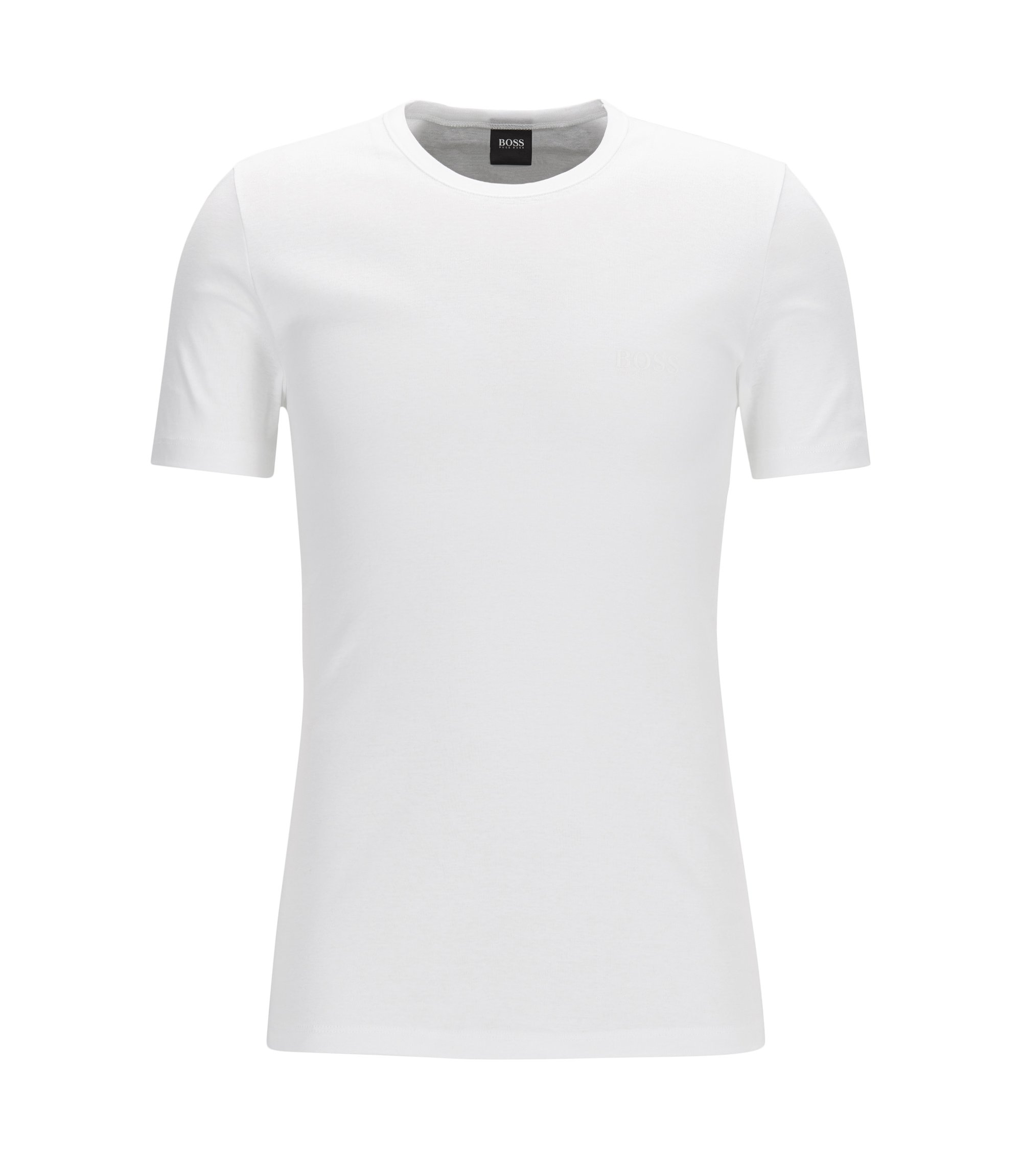 Camiseta interior regular fit en algodón de canalé, Blanco