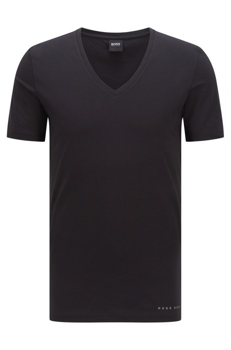 Slim-fit underwear T-shirt in a Coolmax® cotton blend, Black